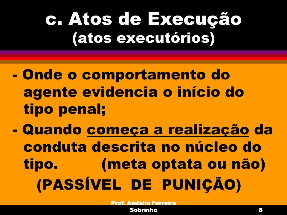 Prof. Audálio Ferreira Sobrinho8 c. Atos de Execução (atos executórios) - Onde o comportamento do agente evidencia o início do tipo penal; - Quando co