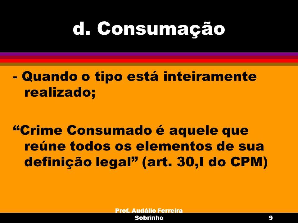 Prof. Audálio Ferreira Sobrinho9 d. Consumação - Quando o tipo está inteiramente realizado; Crime Consumado é aquele que reúne todos os elementos de s