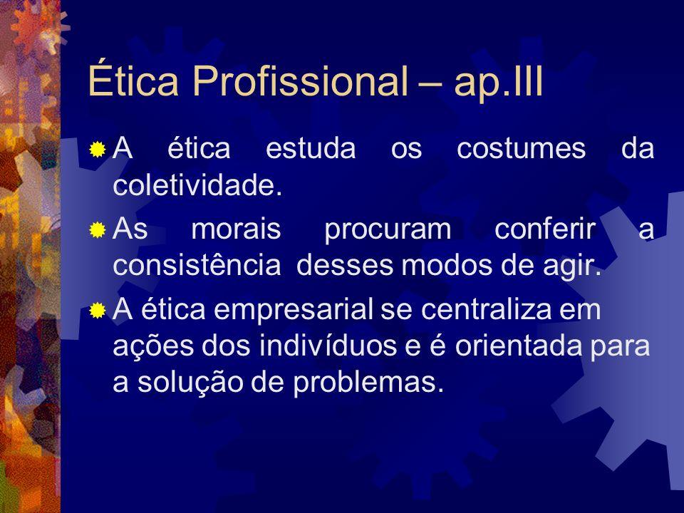 Ética Profissional – ap.III A ética estuda os costumes da coletividade. As morais procuram conferir a consistência desses modos de agir. A ética empre