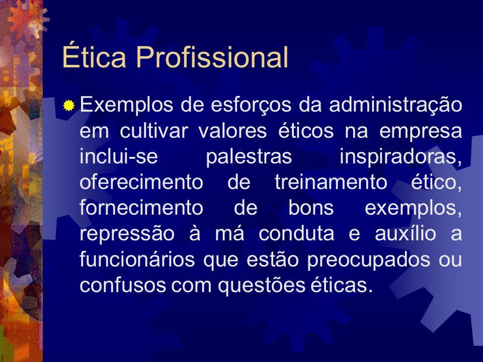 Ética Profissional Exemplos de esforços da administração em cultivar valores éticos na empresa inclui-se palestras inspiradoras, oferecimento de trein