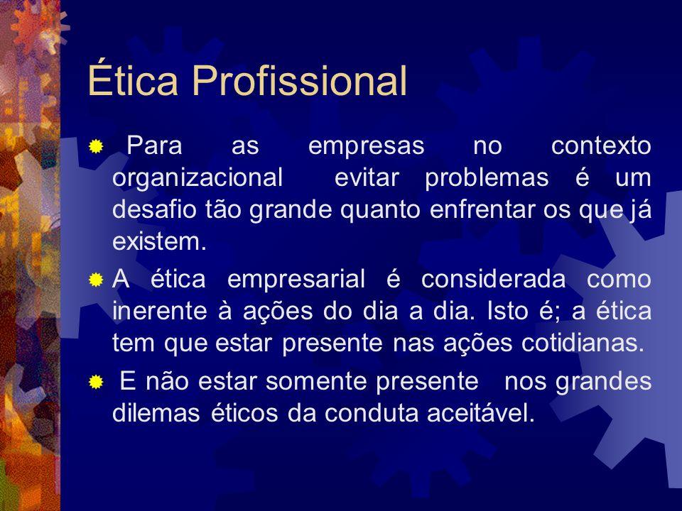 Ética Profissional A liderança ética na empresa depende do sucesso da alta administração em evitar problemas.