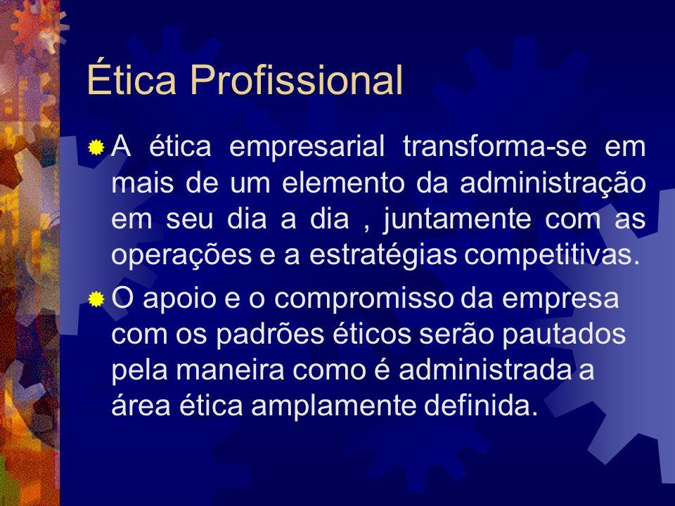 Ética Profissional As pessoas ficam mais conscientes e são diretamente envolvidas e afetadas pelas considerações éticas das ações diárias no local de trabalho.