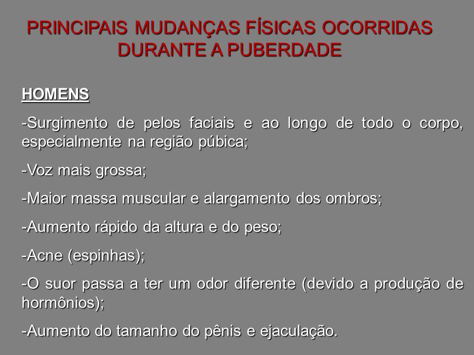 PRINCIPAIS MUDANÇAS FÍSICAS OCORRIDAS DURANTE A PUBERDADE MULHERES -Desenvolvimento dos seios; -O corpo se torna mais arredondado por causa da deposição de gordura em alguns locais; -Alargamento dos quadris; -Surgimento de pelos especialmente na região púbica, nas axilas e nas pernas; -Acne (espinhas); -O suor passa a ter um odor diferente (devido a produção de hormônios); -Menarca (primeira menstruação).
