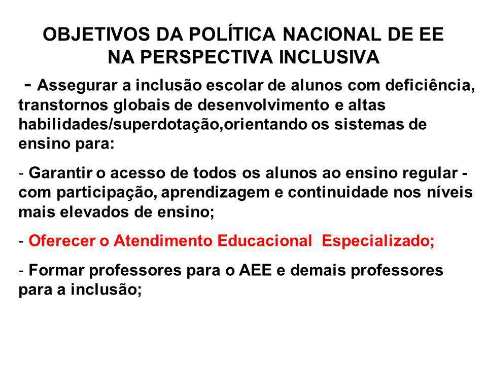 OBJETIVOS DA POLÍTICA NACIONAL DE EE NA PERSPECTIVA INCLUSIVA - Assegurar a inclusão escolar de alunos com deficiência, transtornos globais de desenvo