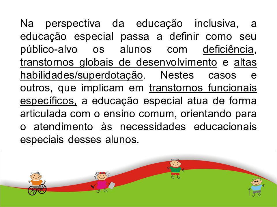 Na perspectiva da educação inclusiva, a educação especial passa a definir como seu público-alvo os alunos com deficiência, transtornos globais de dese