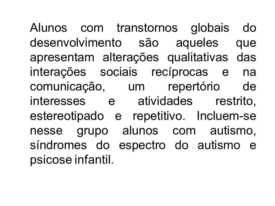 Alunos com transtornos globais do desenvolvimento são aqueles que apresentam alterações qualitativas das interações sociais recíprocas e na comunicaçã
