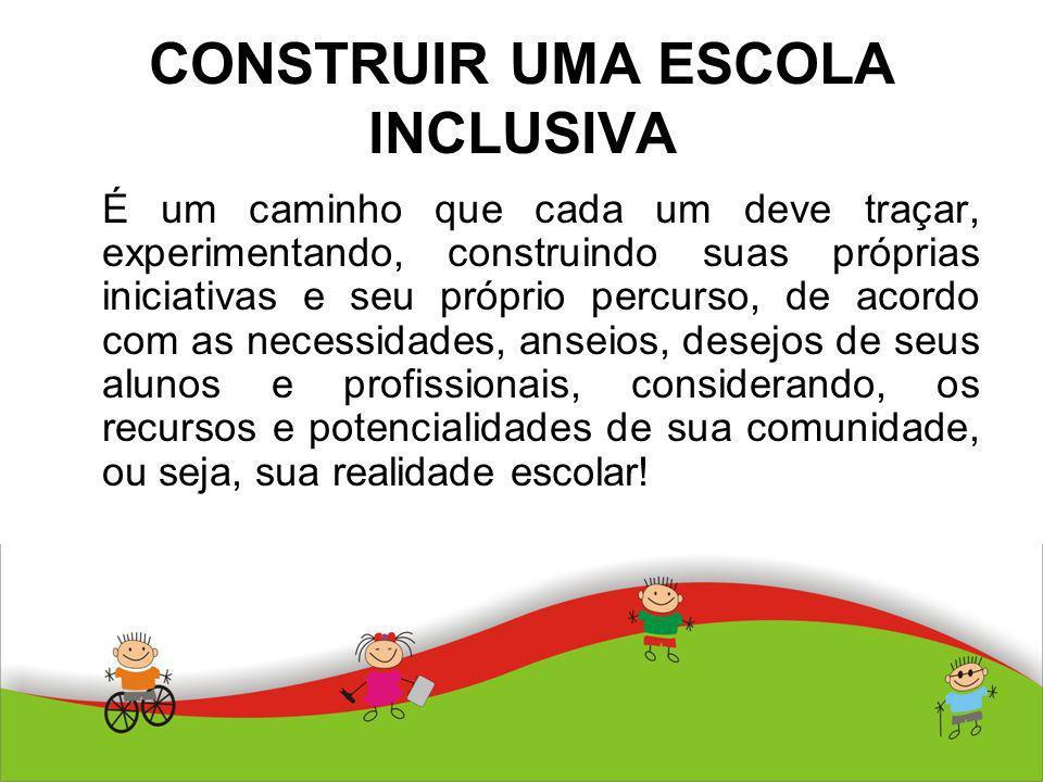 CONSTRUIR UMA ESCOLA INCLUSIVA É um caminho que cada um deve traçar, experimentando, construindo suas próprias iniciativas e seu próprio percurso, de