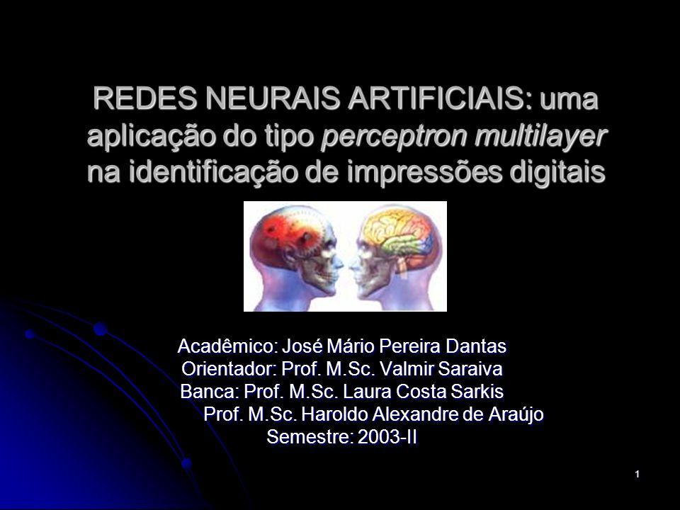 1 REDES NEURAIS ARTIFICIAIS: uma aplicação do tipo perceptron multilayer na identificação de impressões digitais Acadêmico: José Mário Pereira Dantas