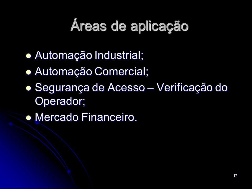 17 Áreas de aplicação Automação Industrial; Automação Industrial; Automação Comercial; Automação Comercial; Segurança de Acesso – Verificação do Opera