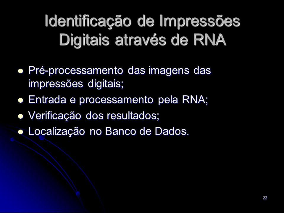 22 Identificação de Impressões Digitais através de RNA Pré-processamento das imagens das impressões digitais; Pré-processamento das imagens das impres