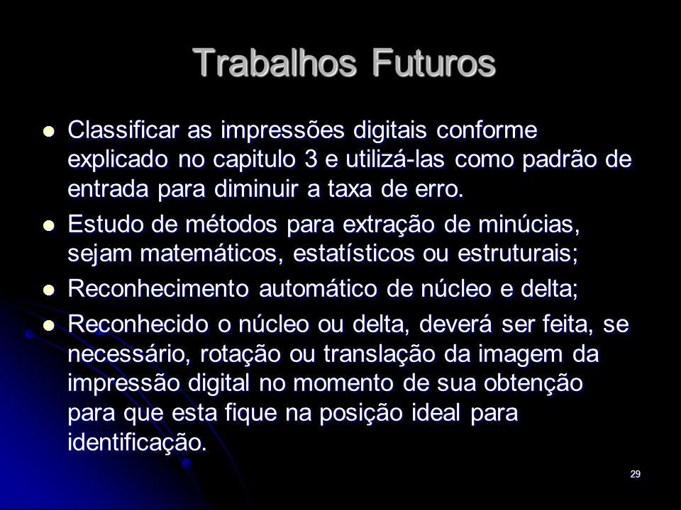 29 Trabalhos Futuros Classificar as impressões digitais conforme explicado no capitulo 3 e utilizá-las como padrão de entrada para diminuir a taxa de