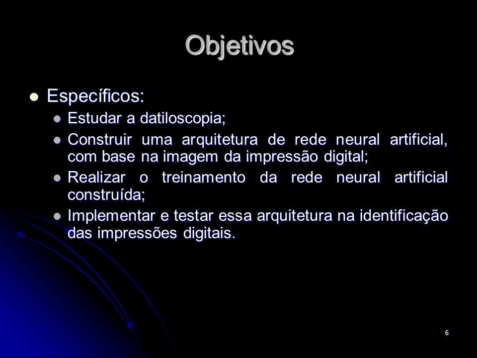 6 Objetivos Específicos: Específicos: Estudar a datiloscopia; Estudar a datiloscopia; Construir uma arquitetura de rede neural artificial, com base na