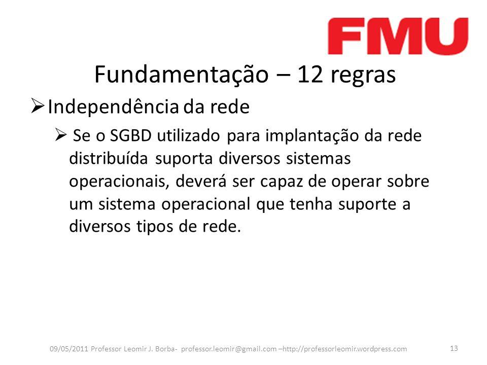 Fundamentação – 12 regras Independência da rede Se o SGBD utilizado para implantação da rede distribuída suporta diversos sistemas operacionais, dever