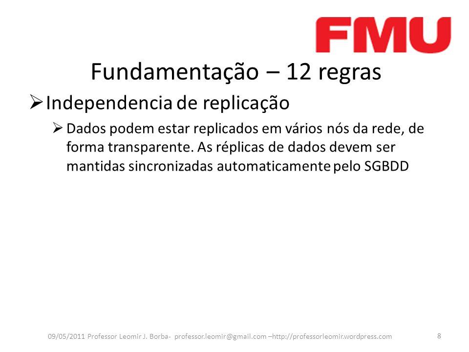 Fundamentação – 12 regras Independencia de replicação Dados podem estar replicados em vários nós da rede, de forma transparente. As réplicas de dados