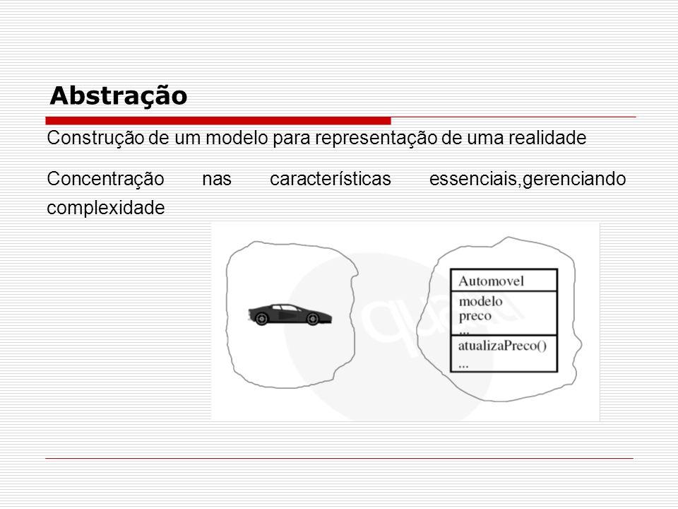Objeto Modelo de um objeto real entidade física, conceitual ou de software Possui comportamento, estado e identidade Exemplo de objetos: conta e poupança
