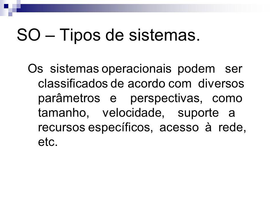 SO – Tipos de sistemas. Os sistemas operacionais podem ser classificados de acordo com diversos parâmetros e perspectivas, como tamanho, velocidade, s