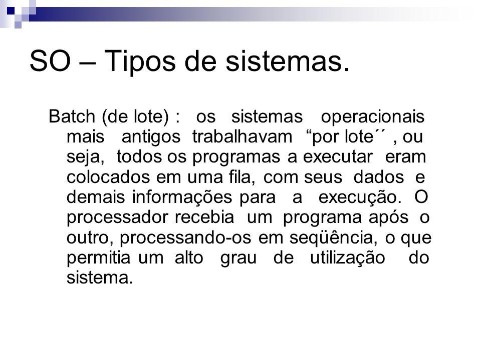 SO – Tipos de sistemas. Batch (de lote) : os sistemas operacionais mais antigos trabalhavam por lote´´, ou seja, todos os programas a executar eram co