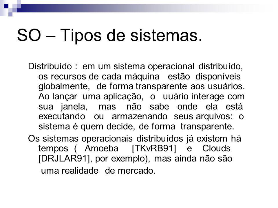 SO – Tipos de sistemas. Distribuído : em um sistema operacional distribuído, os recursos de cada máquina estão disponíveis globalmente, de forma trans