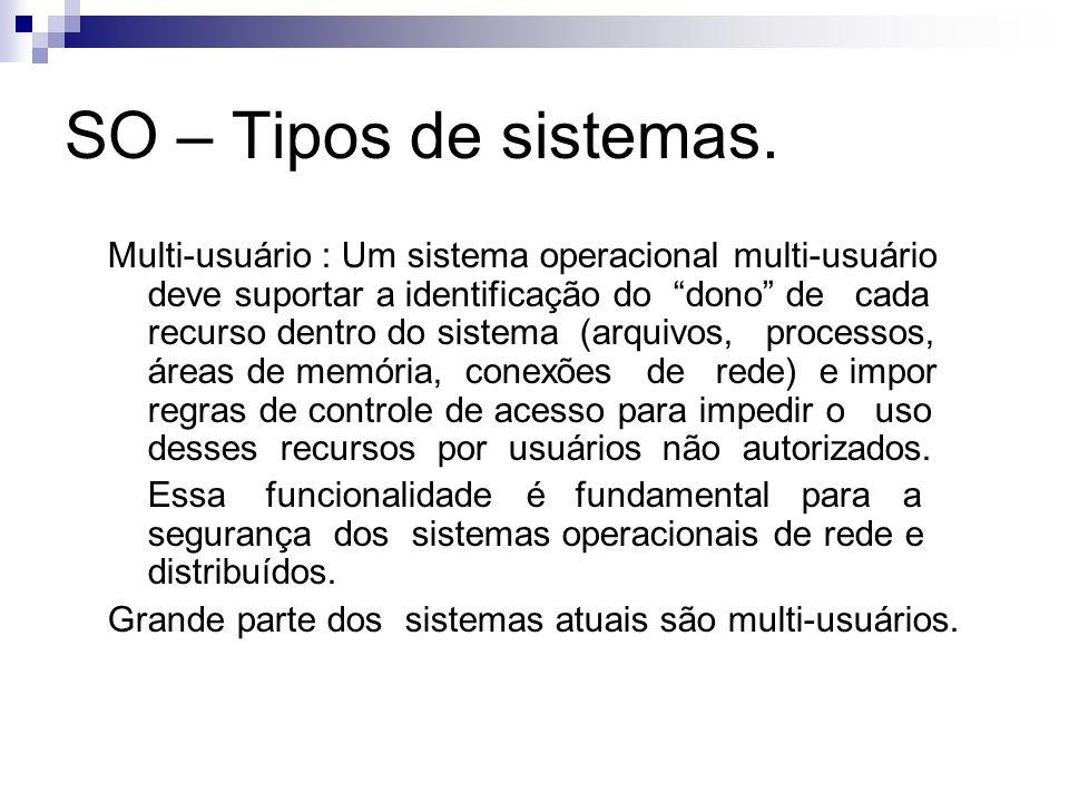 SO – Tipos de sistemas. Multi-usuário : Um sistema operacional multi-usuário deve suportar a identificação do dono de cada recurso dentro do sistema (