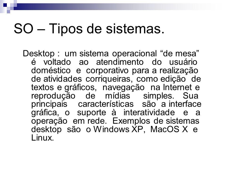 SO – Tipos de sistemas. Desktop : um sistema operacional de mesa é voltado ao atendimento do usuário doméstico e corporativo para a realização de ativ