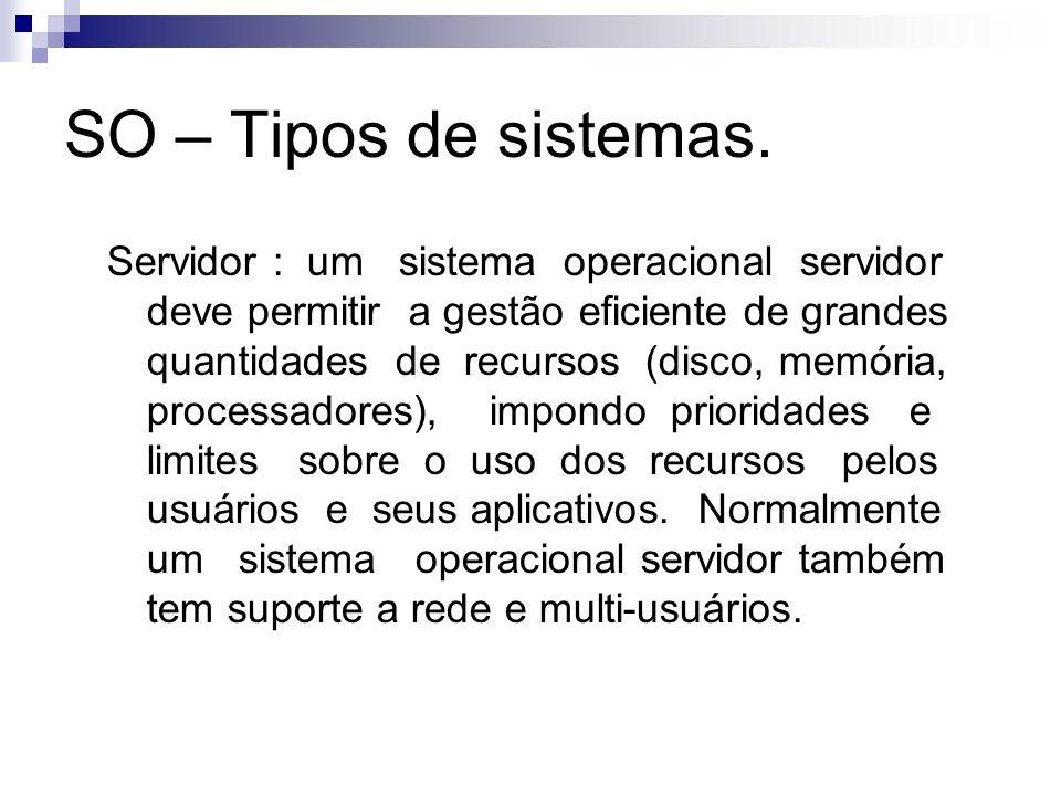 SO – Tipos de sistemas. Servidor : um sistema operacional servidor deve permitir a gestão eficiente de grandes quantidades de recursos (disco, memória