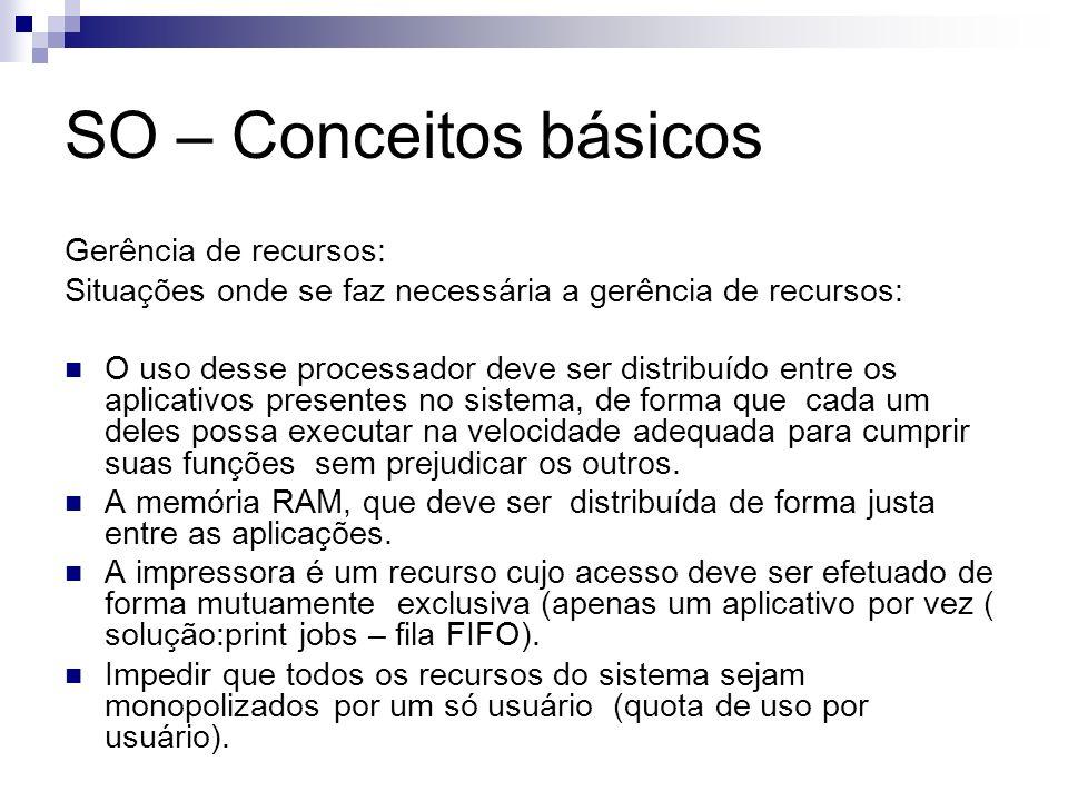 SO – Conceitos básicos Gerência de recursos: Situações onde se faz necessária a gerência de recursos: O uso desse processador deve ser distribuído ent