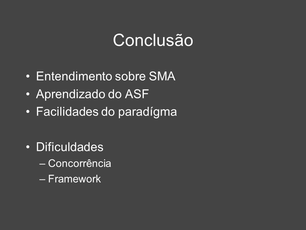 Conclusão Entendimento sobre SMA Aprendizado do ASF Facilidades do paradígma Dificuldades –Concorrência –Framework