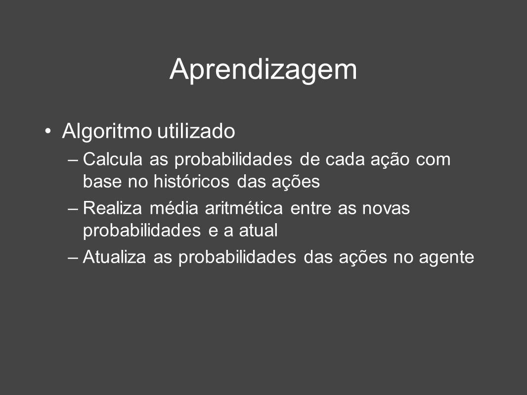 Aprendizagem Algoritmo utilizado –Calcula as probabilidades de cada ação com base no históricos das ações –Realiza média aritmética entre as novas pro