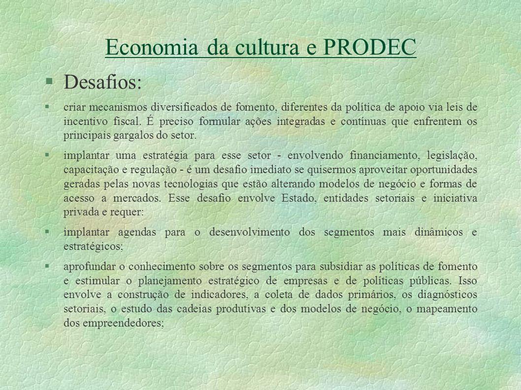 Economia da cultura e PRODEC Desafios: criar mecanismos diversificados de fomento, diferentes da política de apoio via leis de incentivo fiscal. É pre