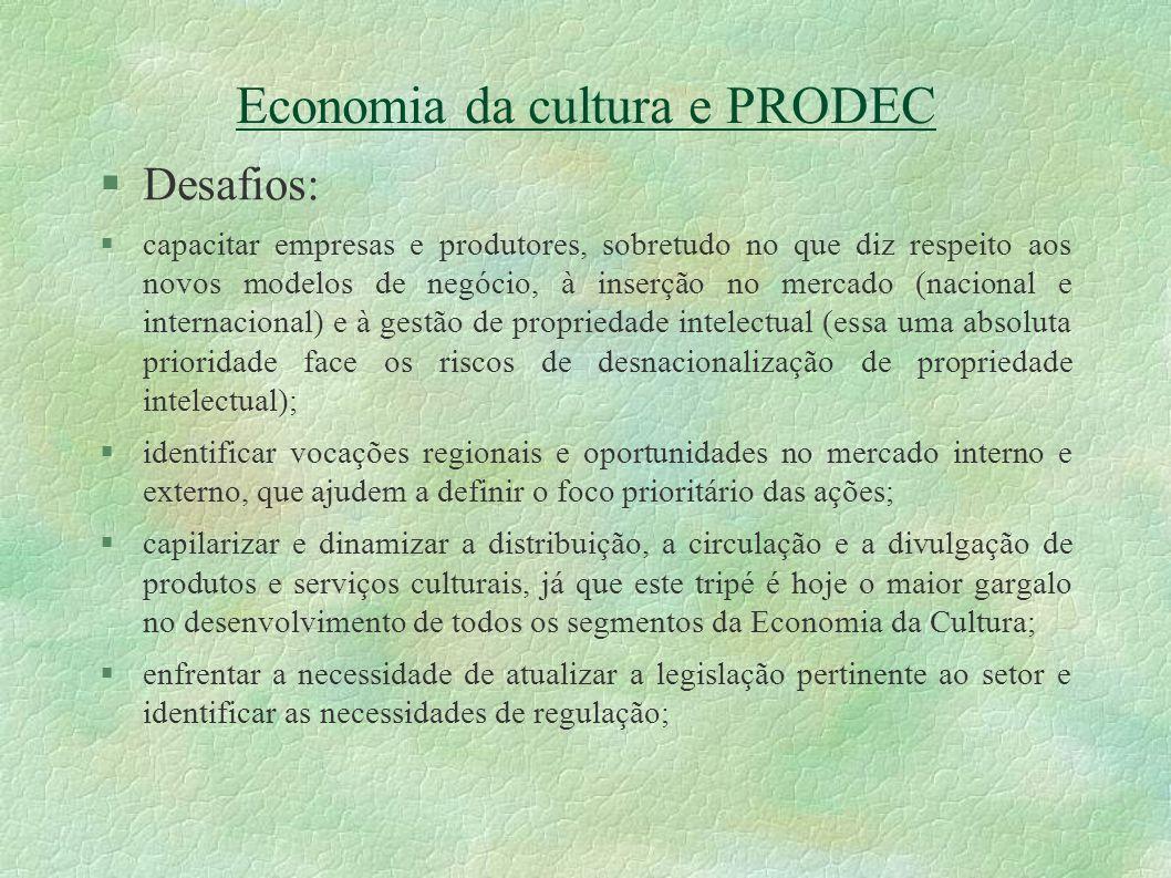 Economia da cultura e PRODEC Desafios: capacitar empresas e produtores, sobretudo no que diz respeito aos novos modelos de negócio, à inserção no merc