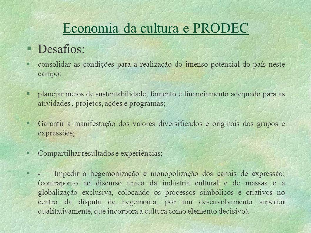 Economia da cultura e PRODEC Desafios: consolidar as condições para a realização do imenso potencial do país neste campo; planejar meios de sustentabi
