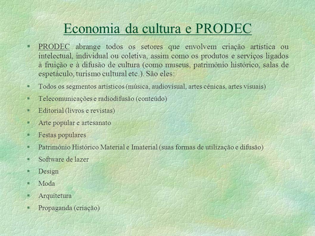 Economia da cultura e PRODEC PRODEC abrange todos os setores que envolvem criação artística ou intelectual, individual ou coletiva, assim como os prod