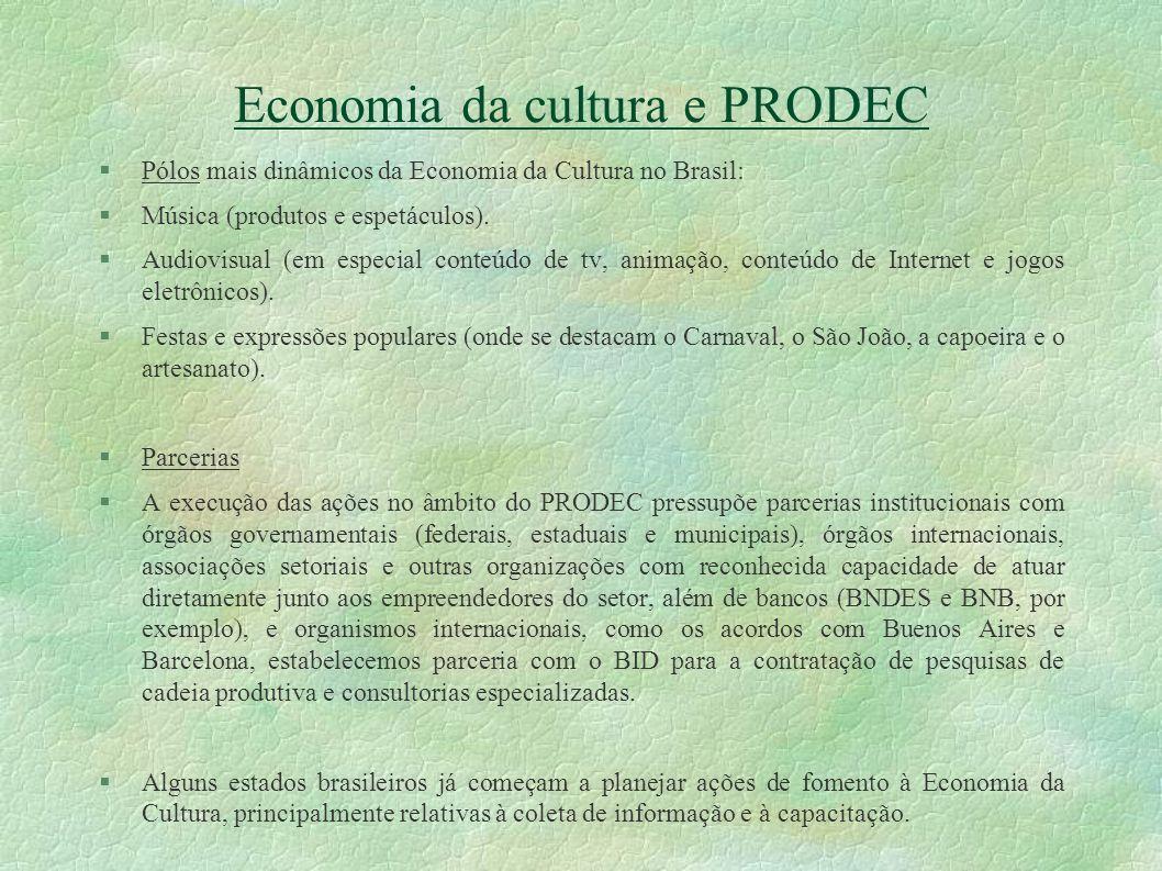 Economia da cultura e PRODEC Pólos mais dinâmicos da Economia da Cultura no Brasil: Música (produtos e espetáculos). Audiovisual (em especial conteúdo