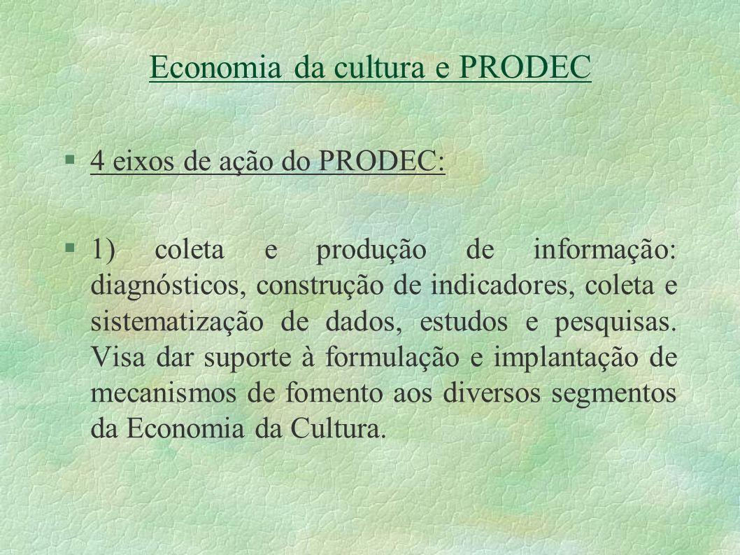 Economia da cultura e PRODEC 4 eixos de ação do PRODEC: 1) coleta e produção de informação: diagnósticos, construção de indicadores, coleta e sistemat