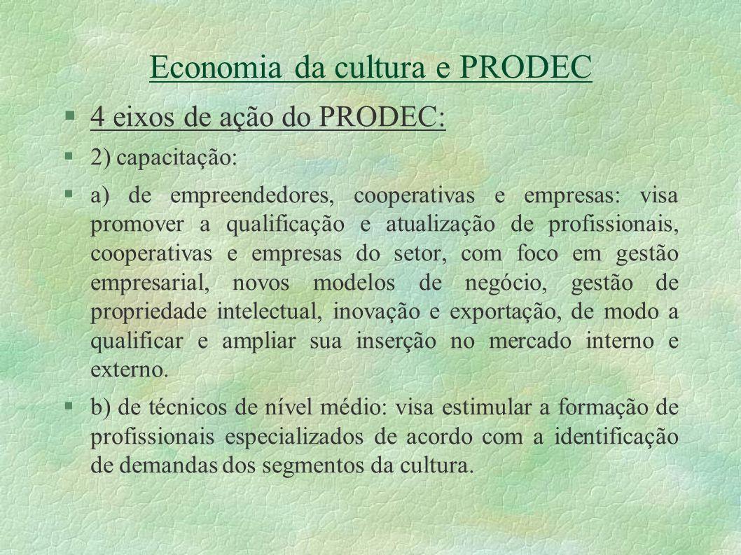 Economia da cultura e PRODEC 4 eixos de ação do PRODEC: 2) capacitação: a) de empreendedores, cooperativas e empresas: visa promover a qualificação e