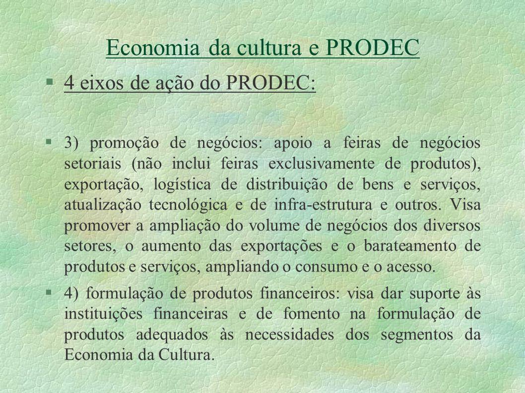 Economia da cultura e PRODEC 4 eixos de ação do PRODEC: 3) promoção de negócios: apoio a feiras de negócios setoriais (não inclui feiras exclusivament