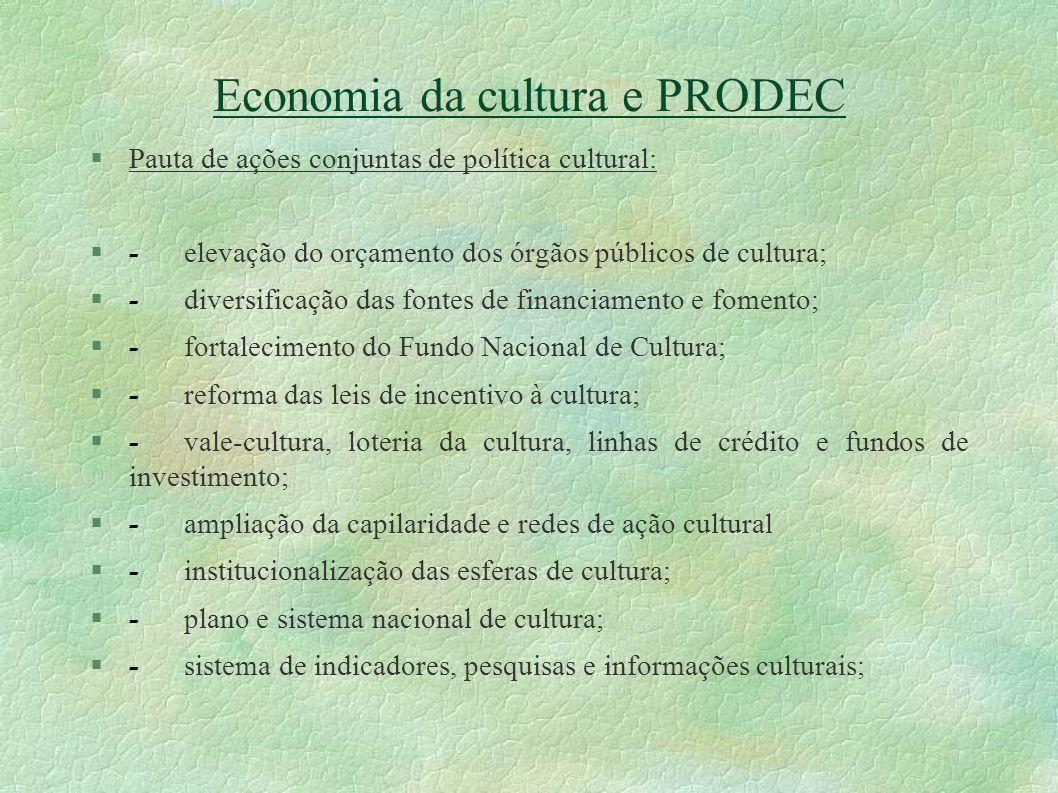 Economia da cultura e PRODEC Pauta de ações conjuntas de política cultural: -elevação do orçamento dos órgãos públicos de cultura; -diversificação das