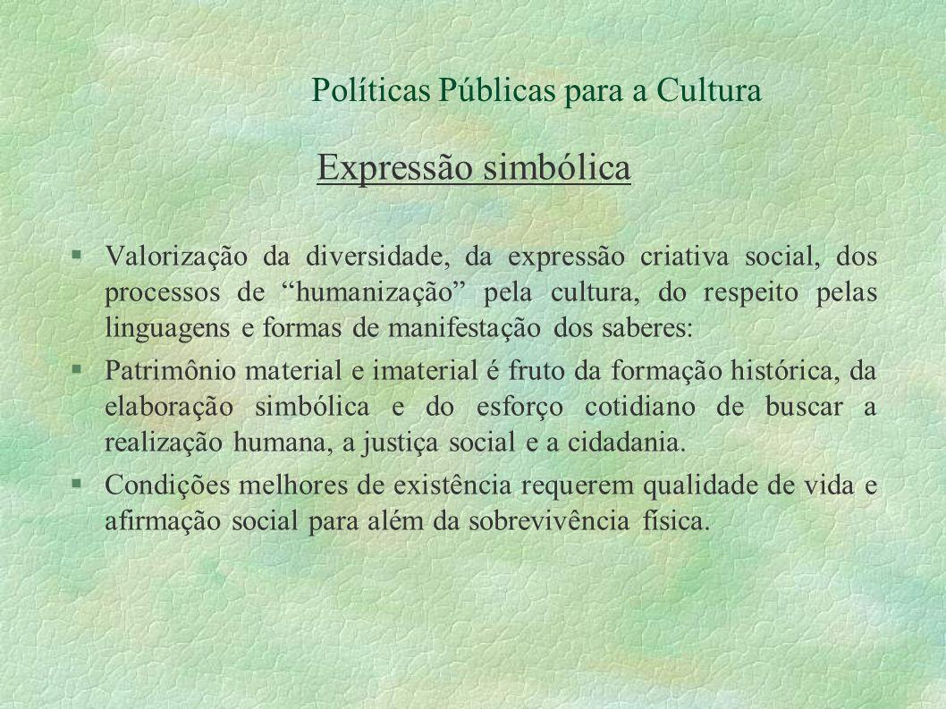 Políticas Públicas para a Cultura Expressão simbólica Valorização da diversidade, da expressão criativa social, dos processos de humanização pela cult