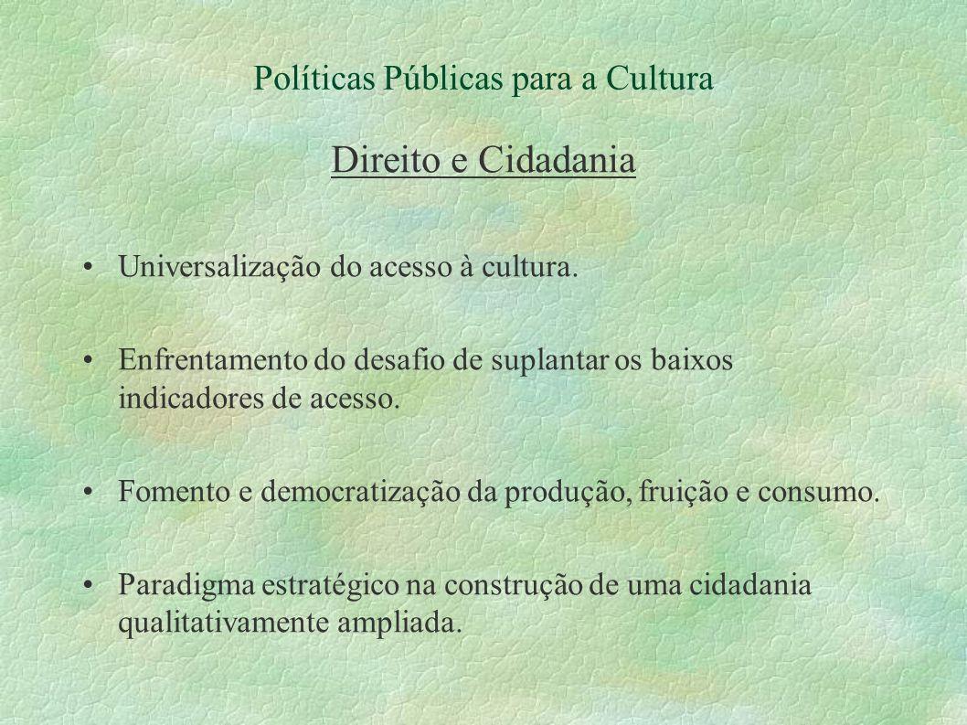 Políticas Públicas para a Cultura Direito e Cidadania Universalização do acesso à cultura. Enfrentamento do desafio de suplantar os baixos indicadores