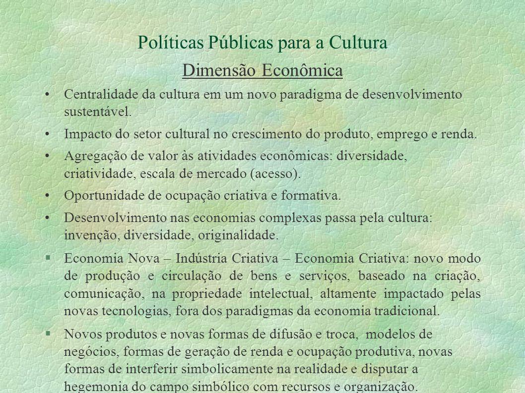 Políticas Públicas para a Cultura Dimensão Econômica Centralidade da cultura em um novo paradigma de desenvolvimento sustentável. Impacto do setor cul