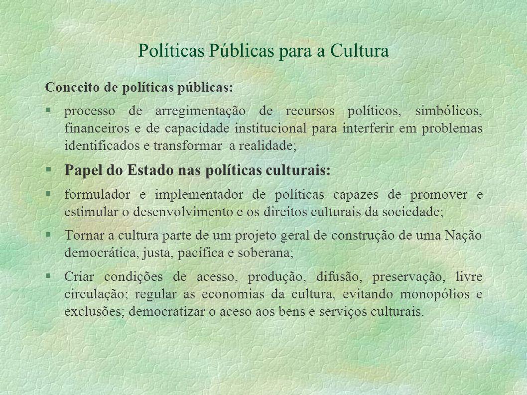 Políticas Públicas para a Cultura Conceito de políticas públicas: processo de arregimentação de recursos políticos, simbólicos, financeiros e de capac