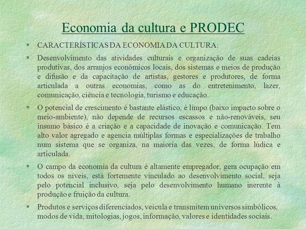 Economia da cultura e PRODEC O PRODEC começou a vigorar no PPOA atual (07-11), com metas e indicadores para avaliar sua efetividade.
