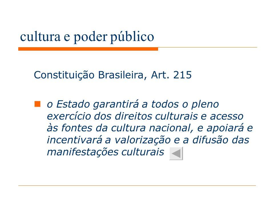 cultura e poder público Constituição Brasileira, Art.