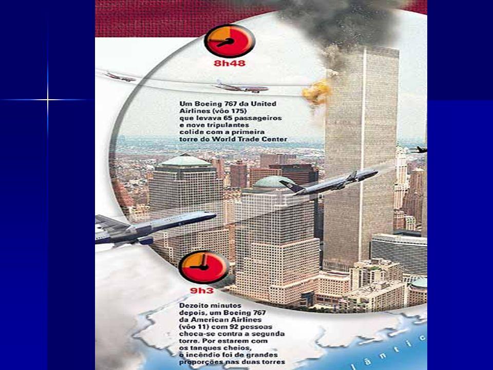 Atentado ao World trade center Na manhã do dia 11 de Setembro de 2001 dois aviões comerciais colidiram contra as torres do edifício da World Trade Cen