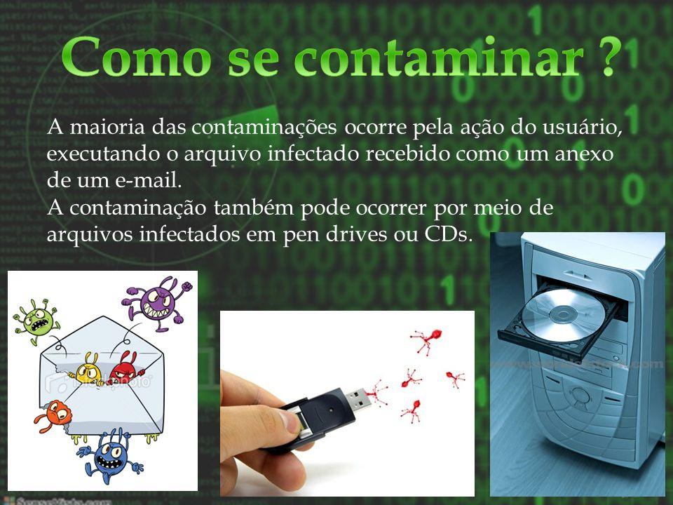 A maioria das contaminações ocorre pela ação do usuário, executando o arquivo infectado recebido como um anexo de um e-mail. A contaminação também pod