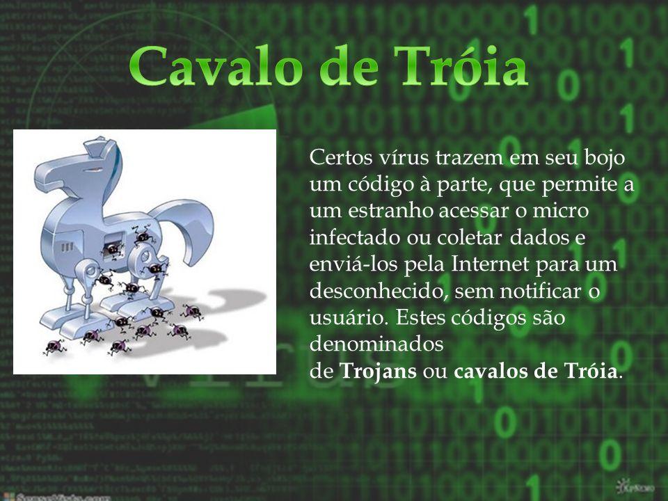Certos vírus trazem em seu bojo um código à parte, que permite a um estranho acessar o micro infectado ou coletar dados e enviá-los pela Internet para