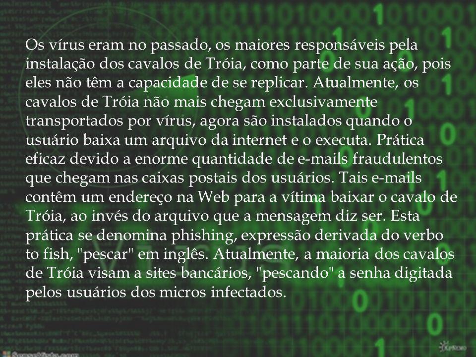 Os antivírus são programas desenvolvidos por empresas de segurança, com o objetivo de detectar e eliminar vírus encontrados no computador.