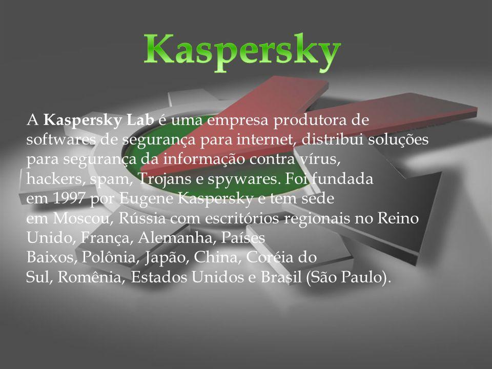 Principais produtos Kaspersky Anti-Virus ( KAV ): inclui proteção em tempo real, detecção e remoção de virus, trojans, worms, spyware, adware, keyloggers e rootkits, além de atualizações automáticas e uma ferramenta para criação de disco de resgate.