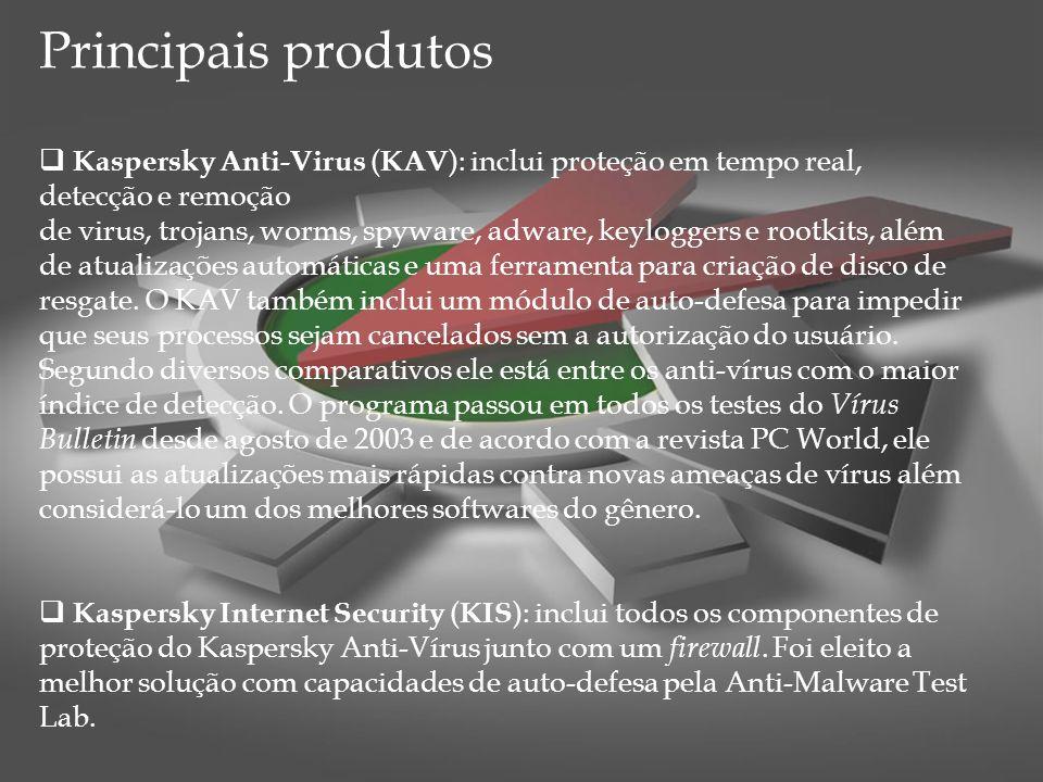Principais produtos Kaspersky Anti-Virus ( KAV ): inclui proteção em tempo real, detecção e remoção de virus, trojans, worms, spyware, adware, keylogg