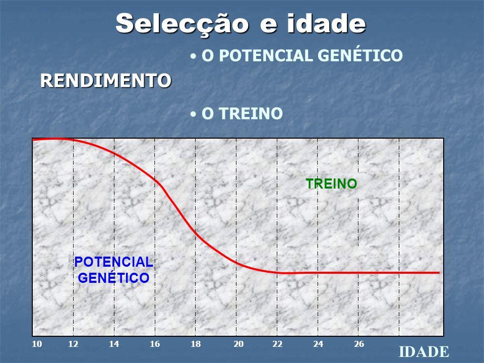 Selecção e idade O POTENCIAL GENÉTICO O TREINO IDADE POTENCIAL GENÉTICO TREINO 10 12 14 16 18 20 22 24 26 RENDIMENTO
